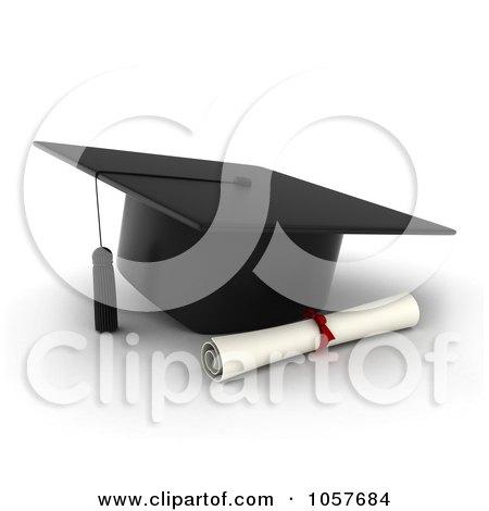 Art illustration of a 3d graduation cap and diploma by bnp design
