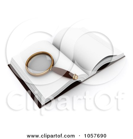 Royalty-Free CGI Clip Art Illustration of a 3d Magnifying Glass On An Open Book by BNP Design Studio