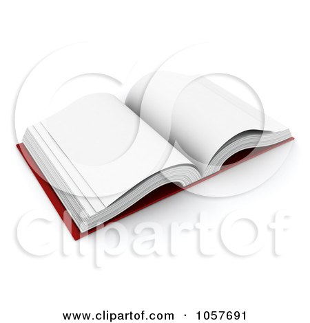 Royalty-Free CGI Clip Art Illustration of a 3d Open Blank Book by BNP Design Studio
