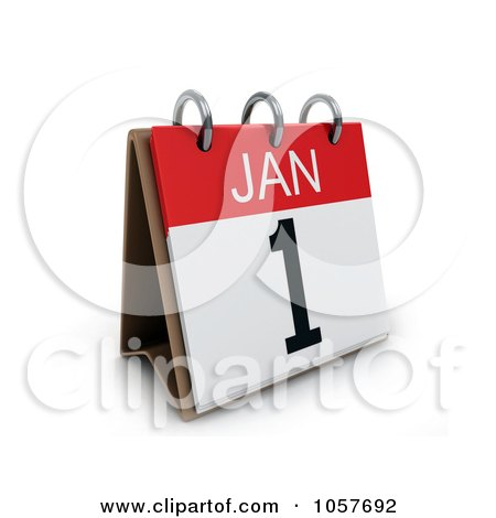 Royalty-Free CGI Clip Art Illustration of a 3d New Years Day Calendar by BNP Design Studio