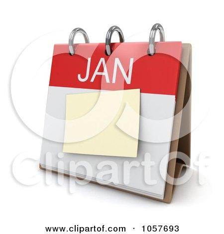 Royalty-Free CGI Clip Art Illustration of a 3d January Calendar by BNP Design Studio