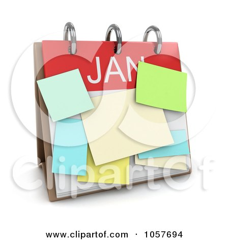 Royalty-Free CGI Clip Art Illustration of a 3d January Calendar With Sticky Notes by BNP Design Studio