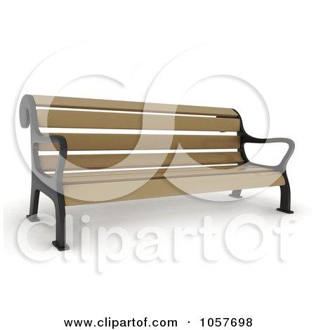 Royalty-Free CGI Clip Art Illustration of a 3d Wooden Park Bench by BNP Design Studio