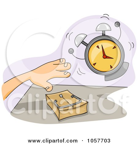 Royalty-Free Vector Clip Art Illustration of an Alarm Going Off By A Hand Over A Mouse Trap by BNP Design Studio
