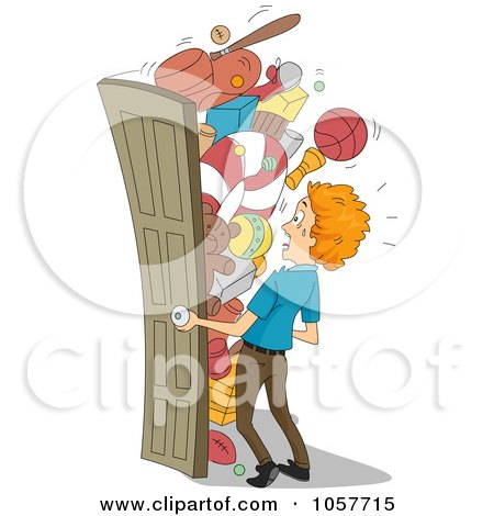 Royalty-Free Vector Clip Art Illustration of a Man Opening A Packed Closet by BNP Design Studio