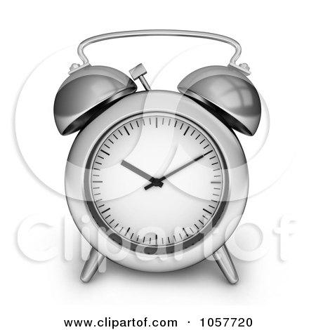 Royalty-Free CGI Clip Art Illustration of a 3d Silver Alarm Clock by BNP Design Studio