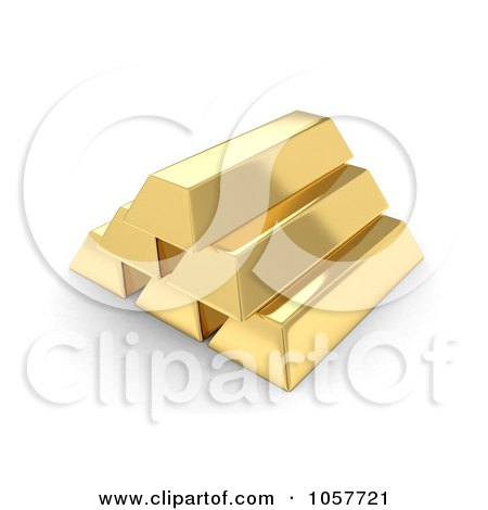 Royalty-Free CGI Clip Art Illustration of a Pyramid Of 3d Gold Bullion Bars by BNP Design Studio