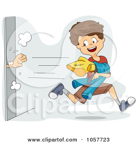 Royalty-Free Vector Clip Art Illustration of a Boy Snagging Clothes From A Dressing Room by BNP Design Studio