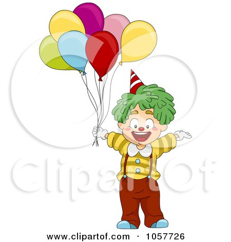 Royalty-Free Vector Clip Art Illustration of a Clown Boy With Balloons by BNP Design Studio