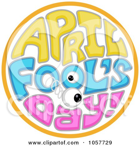 Royalty-Free Vector Clip Art Illustration of an April Fools Day Circle With A Springy Eyeball by BNP Design Studio