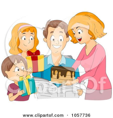 Royalty-Free Vector Clip Art Illustration of a Family Giving A Birthday Cake And Presents To A Man by BNP Design Studio