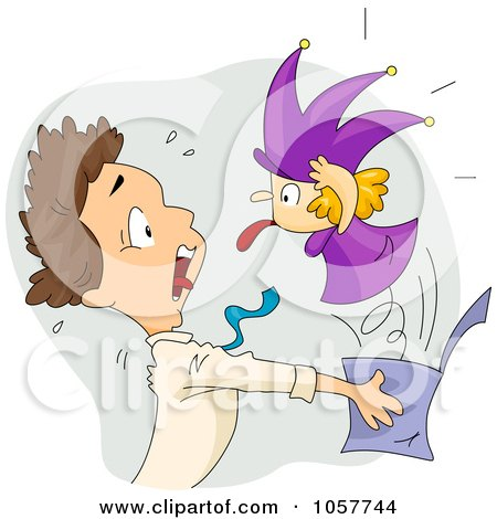 Royalty-Free Vector Clip Art Illustration of a Jack In The Box Scaring A Man by BNP Design Studio