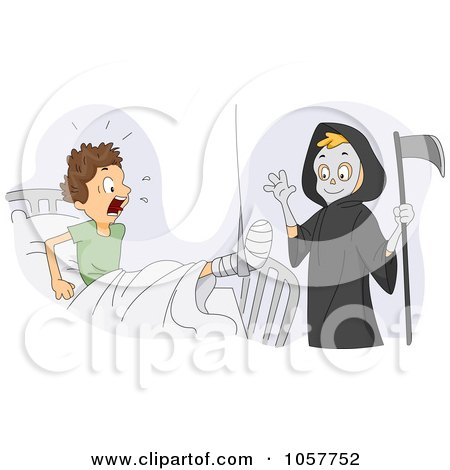 Royalty-Free Vector Clip Art Illustration of a Boy Dressed Up As The Grim Reaper, Scaring His Friend by BNP Design Studio