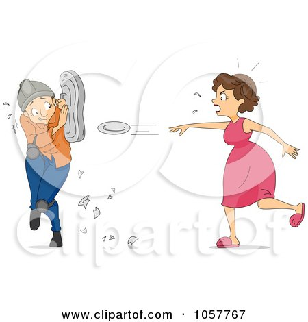 Royalty-Free Vector Clip Art Illustration of a Mad Woman Throwing Plates by BNP Design Studio