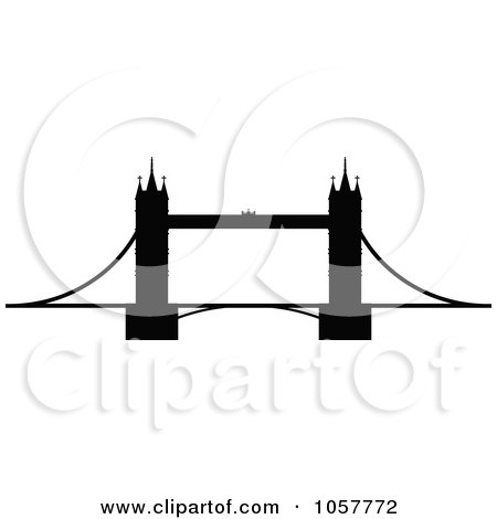 Royalty-Free Vector Clip Art Illustration of a Black Silhouetted Tower Bridge by cidepix