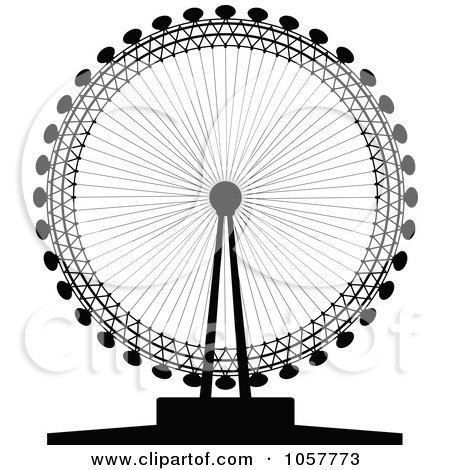 Royalty-Free Vector Clip Art Illustration of a Black Silhouetted London Eye by cidepix