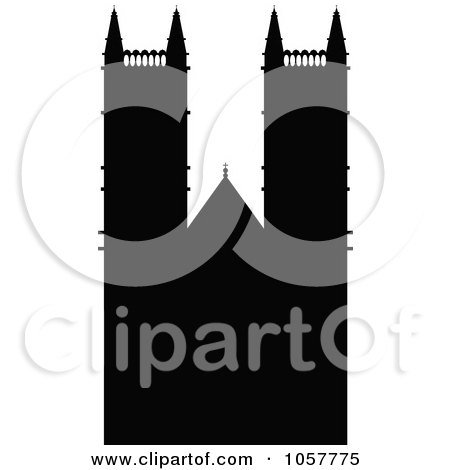 Royalty-Free Vector Clip Art Illustration of The Black Silhouetted Westminster Abbey by cidepix