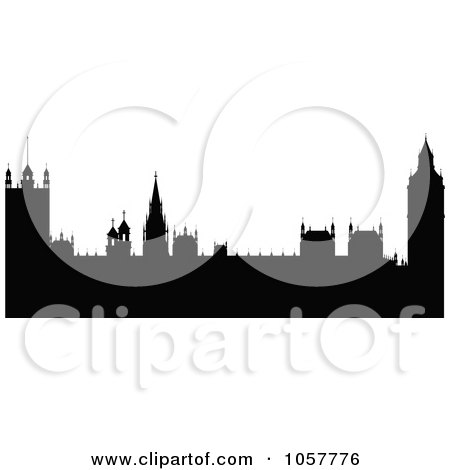Royalty-Free Vector Clip Art Illustration of The Black Silhouetted Houses of Parliament by cidepix