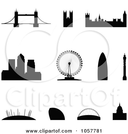 Royalty-Free Vector Clip Art Illustration of a Digital Collage Of Silhouetted London Landmarks by cidepix