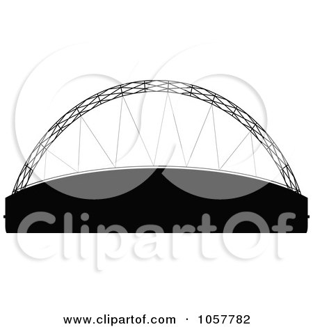 Royalty-Free Vector Clip Art Illustration of The Black Silhouetted Davies Alpine House by cidepix