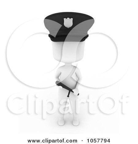 Royalty-Free CGI Clip Art Illustration of a 3d Ivory Police Man Holding A Baton by BNP Design Studio