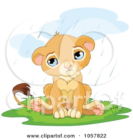 Royalty-Free Vector Clip Art Illustration of a Sad, Cute Little Lion In The Rain by Pushkin