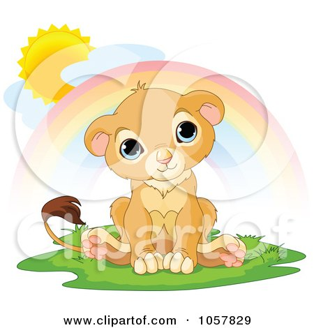 Royalty-Free Vector Clip Art Illustration of a Happy, Cute Little Lion Under A Rainbow by Pushkin