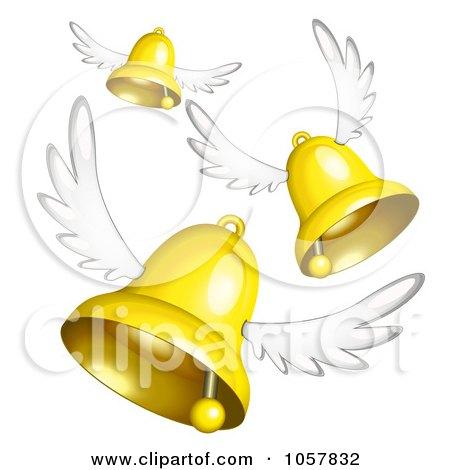 Royalty-Free Vector Clip Art Illustration of 3d Winged Golden Bells Flying by Oligo