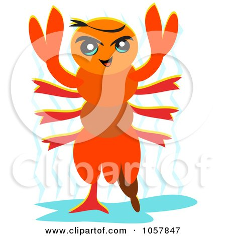 Clipart Illustration Of A Relaxed Lobster Soaking Up The