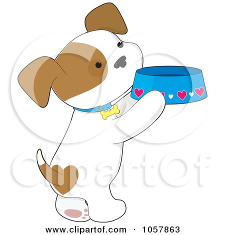 Royalty-Free Vector Clip Art Illustration of a Puppy Standing On His Hind Legs And Holding A Food Dish by Maria Bell