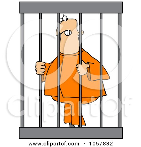Royalty-Free Vector Clip Art Illustration of An Angry Prisoner Behind Bars Posters, Art Prints