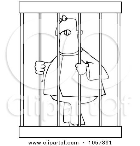 Royalty-Free Vector Clip Art Illustration of a Coloring Page Outline Of An Angry Prisoner Behind Bars by djart