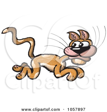 Royalty-Free Vector Clip Art Illustration of a Scared Cat Running by Zooco