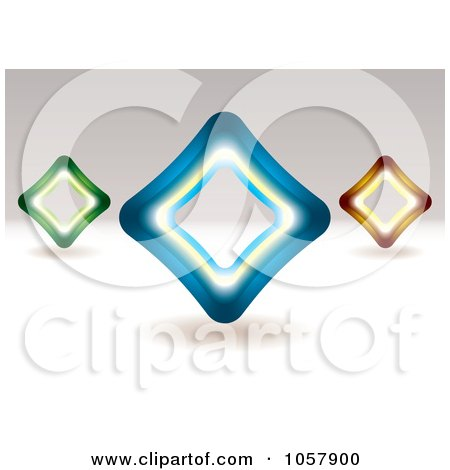 Royalty-Free Vector Clip Art Illustration of 3d Green, Blue And Orange Diamond Signs by michaeltravers