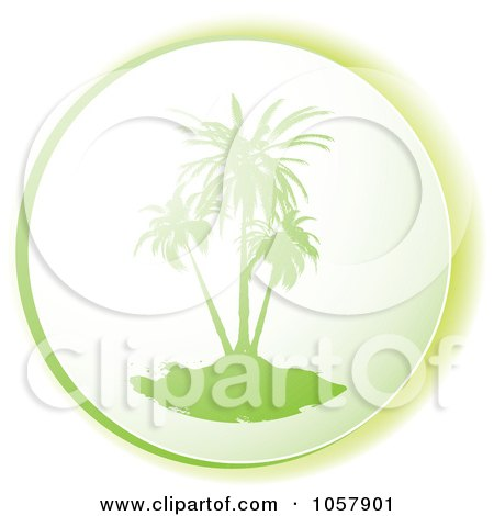 Royalty-Free Vector Clip Art Illustration of a Green Palm Tree Icon by michaeltravers