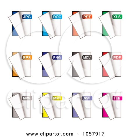 Royalty-Free Vector Clip Art Illustration of a Digital Collage Of Document Type Icons by michaeltravers