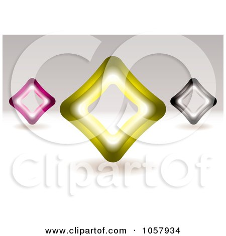 Royalty-Free Vector Clip Art Illustration of 3d Pink, Yellow And Black Diamond Signs by michaeltravers