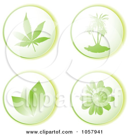 Royalty-Free Vector Clip Art Illustration of a Digital Collage Of Green Leaf, Tree And Floral Eco Icons by michaeltravers