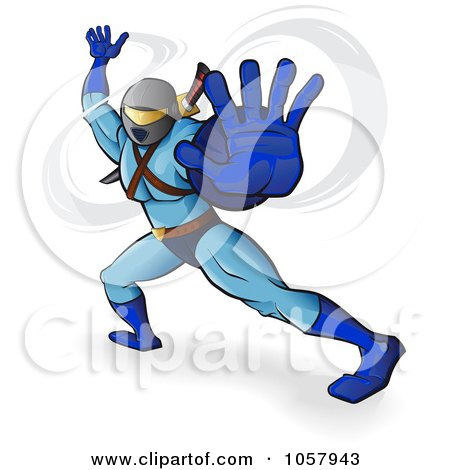 Royalty-Free Vector Clip Art Illustration of a Ninja In Blue Holding His Hand Out by Paulo Resende