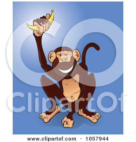 Royalty-Free Vector Clip Art Illustration of a Happy Monkey Holding Up A Banana by Paulo Resende