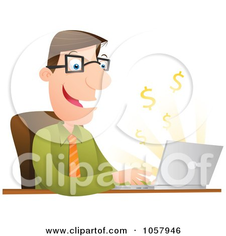 Royalty-Free Vector Clip Art Illustration of a Successful Businessman Using Internet Banking by Qiun