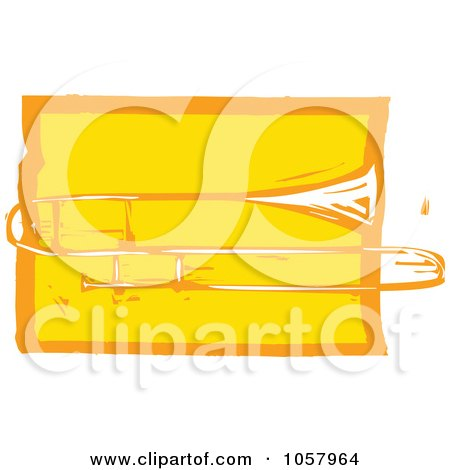 Royalty-Free Vector Clip Art Illustration of a Yellow Woodcut Styled Trombone by xunantunich