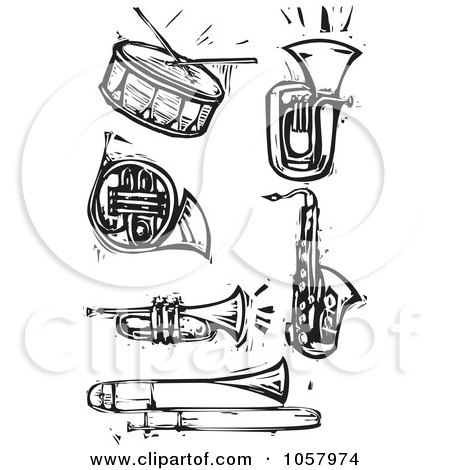 Royalty-Free Vector Clip Art Illustration of a Digital Collage Of Black And White Woodcut Styled Instruments by xunantunich