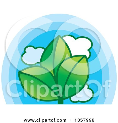 Royalty-Free Vector Clip Art Illustration of a Triple Leaf And Blue Sky Icon by Lal Perera