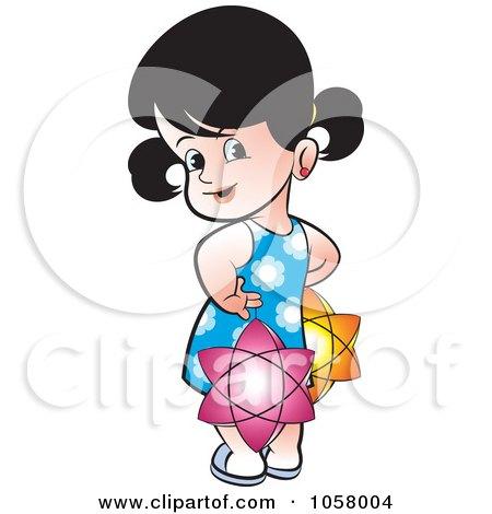 Royalty-Free Vector Clip Art Illustration of a Sri Lankan Girl With Vesak Lanterns by Lal Perera