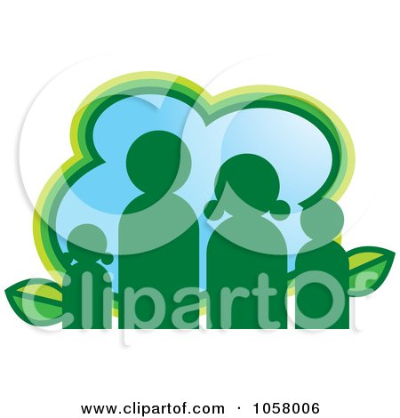 Royalty-Free Vector Clip Art Illustration of a Green Eco Family Icon by Lal Perera