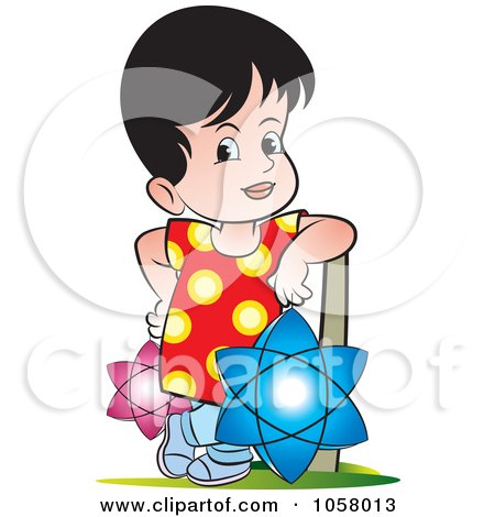Royalty-Free Vector Clip Art Illustration of a Sri Lankan Kid With Vesak Lanterns by Lal Perera