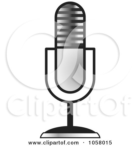 Royalty-Free Vector Clip Art Illustration of a Silver Desk Microphone by Lal Perera