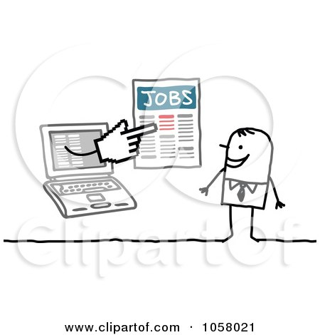Royalty-Free Vector Clip Art Illustration of a Laptop Man Holding Job Listings Out To A Stick Man by NL shop
