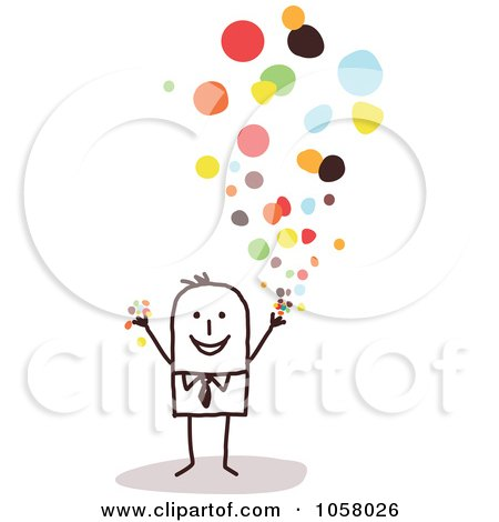 Royalty-Free Vector Clip Art Illustration of a Stick Businessman Tossing Confetti by NL shop